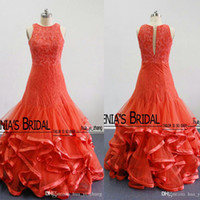 Wholesale Romantic Coupling - 2016 Romantic India Style Mermaid Lace Appliques Prom Dresses Ruffles Puffy Trumpet Tiered Skirts Couple Fashion Real Images
