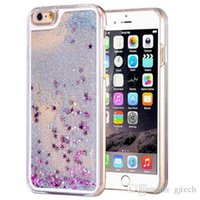Wholesale Iphone 4s Rhinestones - Glitter Stars Dynamic Liquid Quicksand Hard PC Case For iPhone 4s 5se 6s plus Samsung S6 S7 Edge Note 5 back cover Transparent Clear Shell