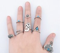Wholesale Bands Nail Fine - Bohemian Elephant Snake Stacking Rings Antique Silver Joint Knuckle Nail Ring Set Above Knuckle Fine Rings Set