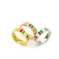 Wholesale Love Fashion Rings - 316L Stainless Steel fashion Jewelry G Love rings for woman man jewelry lover rings 18K Gold-color and rose Jewelry green gold plated Bijoux