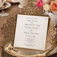 Wholesale Elegant Gold Wedding Invitations - Elegant Golden Laser Cut Flowers Pattern Wedding Invitations Cards, By Wishmade, CW519_GO