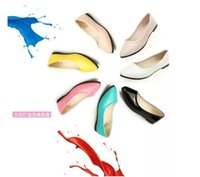 Wholesale Cheap Colored Shoes - Spring&Summer Candy Colored Women Pointed Shallow Mouth With Low Female Casual Shoes Cheap Brand Free Shipping