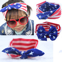 Wholesale 4th July Wholesale - 4th of July Independence Day Baby star stripe national flag bowknot Headbands 3 Design Girls Lovely Cute American flag Hair Band Headwrap