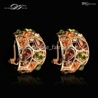 Exagerado Luxo Multicolor Crystal Party Clip Earrings 18K Gold Plated Fashion Brand Jóias Vintage para Mulheres DFE067