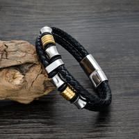 titan charme armbänder großhandel-Großhandels20188 Die neuen ledernen gesponnenen Armbänder Mann ist Vertragsmodetitanstahllederarmbandarmbänder