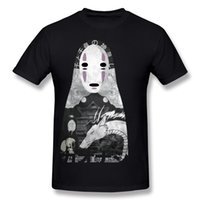 Wholesale Japan Size Clothes - Spirited away anime printed mens t shirt Japan style male unique clothing pure cotton tees for youth NoFace Bathhouse
