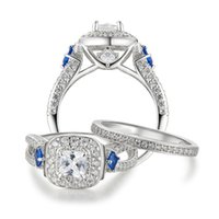Newshe 1.2 Ct Special Blue Side Stones Solido 925 Sterling Silver Halo Wedding Anelli fidanzamento Gioielli Band per donne wzw