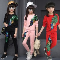 Wholesale Children S Winter Pants - 2018 Autumn Children Girls Tracksuit peacock Sequined Long Sleeve Sweatshirt + Pants Kids 2 Pieces Girls Sport Suit