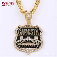 Wholesale Necklaces Hip Hop Swag - classic GANGSTA pendant golden Necklace E fashion gold hip hop for men pendants and necklaces Swag club Chain Rhinestone Jewelry tail style