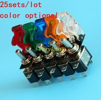 Wholesale Toggle Switches Cover - 25sets 12V 20A Illuminated LED Toggle Switch Control ON OFF + Aircraft Missile Style Flip Up Cover