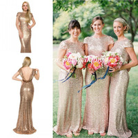 Wholesale Cowl Back Bridesmaid Dresses - 2015 New Gold Mermaid Sequined Cowl Open Back Long Maid of Honor Bridesmaid Dress For Wedding Women Gown Free Shipping ZBD-269