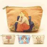 Wholesale Korean Caught - New Fashion cute cartoon canvas coin purse mini wallet Key bag Vintage catch all bag Sweet clutch purse