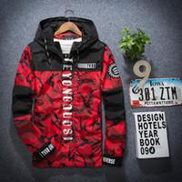 Wholesale Korea Men Coat Styles - 2017 Spring Autumn Korea Style Loves Camo Thin Windbreaker Jacket Teenager Camouflage Windbreaker Coats Men's Hooded Fashion Windbreaker