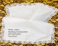"""Wholesale Ladies Handkerchiefs Embroidered - HomeTextile Ladies Handkerchiefs 12PCS Lot 12""""x12""""white 100% Cotton Wedding Handkerchiefs Embroidered White Lace Edges Hankies For Occasions"""