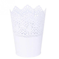 Wholesale Decoration Metal Flower Pot - Metal Lace Hollow Out Pot Makeup Brush Holder Flower Vase Plant Pot Stationery Pen Container for Home Office Decoration