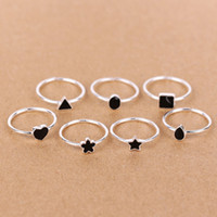 Wholesale Silver Ring Hearts - mix design 5 pcs per lot 925 sterling silver triangle   ellipse square heart-shaped flower star Drop shape Black enamel rings