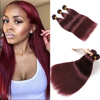 Red Straight Human Hair Weaves 4 Bundles Red Wine 99J Borgonha Peruvian Straight Virgin Hair Extensions Remy Pacotes de cabelo humano