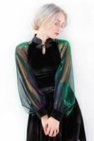 Wholesale Shinny Top - Women's top quality velvet Cheongsam stand collar patchwork perspective shinny gradient color gauze lantern sleeve top blouse shirt