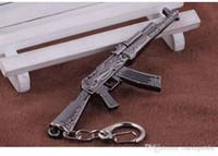 Wholesale Ak Model - AK47 Model Keychain Cross Fire CF Metal Pendant Key Chain Automatic Rifle ak 47 Gun Figure Jewelry Men Toy Accessories Keyring 01602
