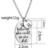 Wholesale inspirational gifts for women online - Engraved she believed she could so she did Disc Swallow Charms Pendant Necklace For Women Best Friends Inspirational Jewelry