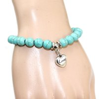 Wholesale Turquoise Bracelet Stretchy - 2016 New 8mm turquoise bead love bracelets silver charm mom good luck bracelet for girls women stretchy