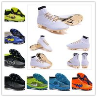 Wholesale Cr7 Cleat Box - [With Box]2016 Mens Mercurial Superfly CR7 White Golden Soccer Shoes Soccer Boots Cleats 100% original Men shoes Soccer Shoes Football Shoes