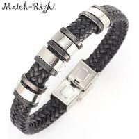 Wholesale match bracelet for sale - Group buy Match Right Men S Leather Bracelets Metal Bracelet Cuff For Men Stainless Steel Bracelets Bangles Men S Wristband Br007