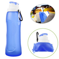 sport canteen - Sports Water Bottle Creative Portable Foldable Food Grade Silicone Bag ml Camping Travel Canteens With Hook Drinkware