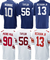 Wholesale Giants Rugby - 2017 White Blue New Youth Kids 13 Odell Beckham Jr 10 Eli Manning 90 Pierre-Paul 56 Lawrence Taylor Giant#10 jerseys