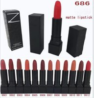 Wholesale Different Coloured Lipsticks - 12PCS Brand MATTE Lipstick Makeup High Quality Cosmetics 12 Different Colours 4.2g Free shippingi