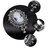 Wholesale Victorian Brooches - Brand New Vintage Cameo VICTORIAN STYLE crystal Wedding party women pendant brooch pin Free Shipping[GE07173]