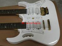 pescoço de guitarra venda por atacado-Pescoço Dupla Guitarra Elétrica Personalizado branco Duplo Pescoço 6/12 cordas Guitarra Elétrica A árvore branca da vida OEM Disponível