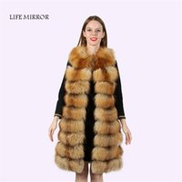 Women outerwears cover - Real Fur Vest Fox Fur Coat S XL Colours cm O Neck Collar Women s Fur Coats Jacket Outerwears LM