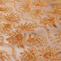 Wholesale Silk Sequin Dresses Wholesale - Lace fabric Net cloth embroidered Bud silk fabrics Computer sequins embroidery fabric fashion cheaper price handwork widding dress material