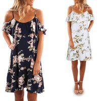 mode de plage en chine achat en gros de-Mode Femmes Spaghetti Strap Flora Imprimé Robes Casual Robes Drapé Design Plus Size Beach Linen Cheap China Dress Livraison gratuite
