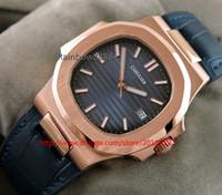 квадратные мужские часы механические оптовых-Новый стиль часы розовое золото площадь автоматические механические мужские часы синий циферблат кожаный ремешок бабочка застежка часы 5711T