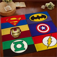 Wholesale Wholesale American Flannel - 12 desighs Flannel cartoon anti-skid carpet 40*60cm Superhero Doormat Animation Hero Bedroom Carpet Avengers Mats Cartoon Door Rug LA198-2