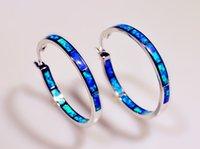 Wholesale Earrings Hoop Opal - Wholesale & Retail Fashion Blue &White Multicolour Fine Fire Opal Earrings 925 Silver Plated Jewelry EJL1631001