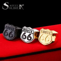 Atacado - Steel soldier US Size 7-13 retail Cheap Man's Jewelry Stainless Steel Biker ring Route 66 Ring For Club BR8-126