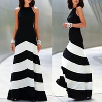 robes de soirée maxi sans dossier achat en gros de-Robe maxi femmes et noir rayé robe dos nu femmes robes habillées soirée Sexy Ladies Stripes Long Maxi robe de soirée