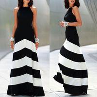 frauen sommer maxi kleider großhandel-Schwarz-weiß gestreiften Maxi Kleid Womens rückenfreies Kleid Sommerkleider Abendkleider Sexy Damen Stripes Long Maxi Abendkleid