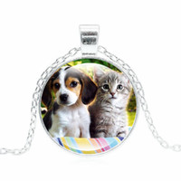 Wholesale Cute Cat Jewelry - Wholesale- XUSHUI XJ Cute Cats and Dog Pendant Necklace Handcrafted Jewelry Silver Chain Glass Cabochon dog necklace Women Lover Gifts