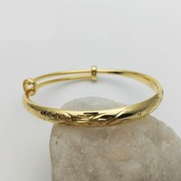 Wholesale 24k Bangle Dragon - New Fashion Design Children Jewelry 24K Yellow Gold Plated Chiness Dragon and Phoenix Bell Bangles for Babies Kids Children