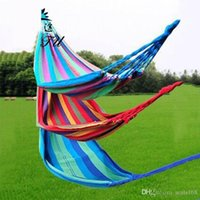 Wholesale Wholesale Roped Hammocks - DHL 280*150cm Double People Outdoor Hammock Creation Thickerness Canvas Garden Hang Bed Travel Camping Swing Stripe Rope ZJ-H16