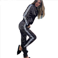Wholesale Elegant Summer Cardigans - Satin two piece set tracksuit for women elegant top and pants set 2017 womens casual sweat suits fitness summer outfits AB44
