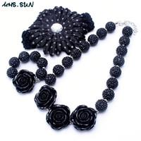 Wholesale Baby Flower Bracelet - Fashion Black Color Necklace&Bracelet Headband 3PCS Jewelry Set Rose Flower Toddlers Girls Bubblegum Baby Kids Chunky Necklace Jewelry Set