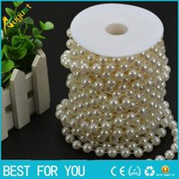 Wholesale Decorative Curtain Beads - Free shipping 20m high quality ABS wiring bead imitation pearls DIY pearl curtain romantic wedding decorative background