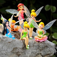 Wholesale Doll Pretty - 2016 New Hot 6pcs set Tinkerbell dolls flying Fairy Adorable tinker bell gift baby toy flower pretty doll Bonsai Decoration