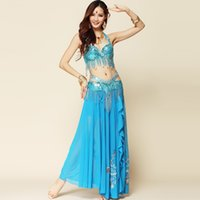 Wholesale Indian Dancing Skirts - 2016 Belly Dance Costume 2pcs And 3pcs Long Gypsy Skirts Bollywood Dance Costumes Indian Dresses Ropa De Danza Del Vientre
