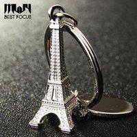 Wholesale Paris Souvenirs - Novelty Eiffel Tower Keychain For Car Keys Souvenirs Paris Tour Eiffel Keychain Key Chain Alloy Key Ring Decoration Key Holder 9 styles